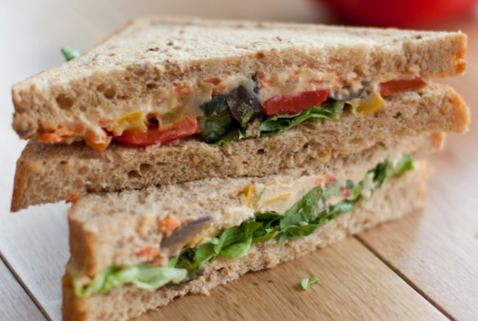 Vegan Avocado, Tomato & Basil Sandwich on Granary